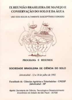 IX REUNIÃO BRASILEIRA DE MANEJO E CONSERVAÇÃO DO SOLO E DA ÁGUA